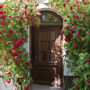 Idéer för en klassisk ingång och ytterdörr, med en enkeldörr och en brun dörr