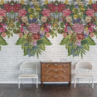 Inspiration för shabby chic-inspirerade entréer, med flerfärgade väggar