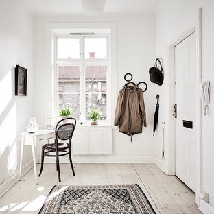 Idéer för mellanstora minimalistiska entréer, med vita väggar och ljust trägolv