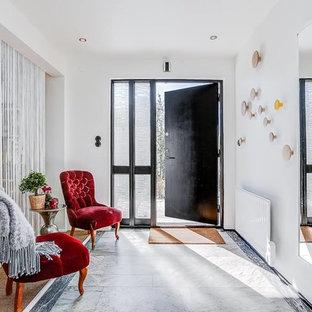 Idéer för en mellanstor modern entré, med vita väggar, kalkstensgolv, en enkeldörr och mörk trädörr