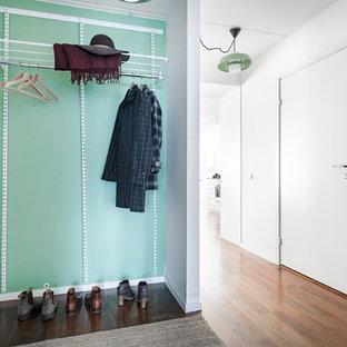 Idéer för små minimalistiska kapprum, med gröna väggar och mörkt trägolv