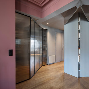 Inspiration for a medium sized contemporary hallway in Paris with grey walls and light hardwood flooring.