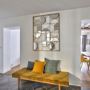 Aménagement d'une entrée scandinave de taille moyenne avec un couloir et une porte simple.