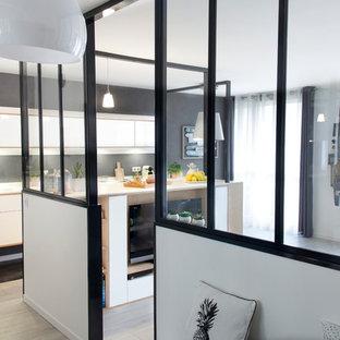 他の地域の中くらいの片開きドア北欧スタイルのおしゃれな玄関ロビー (白い壁、ラミネートの床、白いドア、ベージュの床) の写真