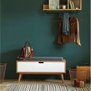 Design ideas for a midcentury mudroom in Lille with green walls and light hardwood floors.