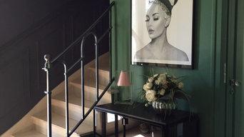 Habillage bois dans l'escalier