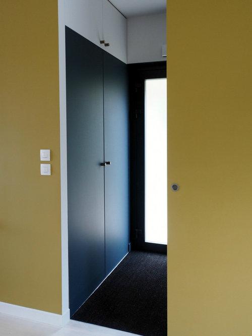 Entr e avec un sol en moquette et une porte en verre for Moquette hall d entree