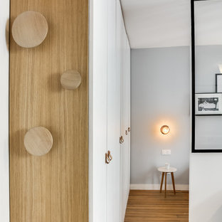 Small trendy light wood floor entryway photo in Paris with white walls and a white front door