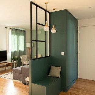 Idéer för att renovera en liten funkis foajé, med gröna väggar, mellanmörkt trägolv, en enkeldörr, en vit dörr och brunt golv