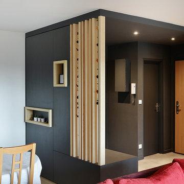 Redistribution d'une entrée / séjour avec création d'un meuble sur mesure