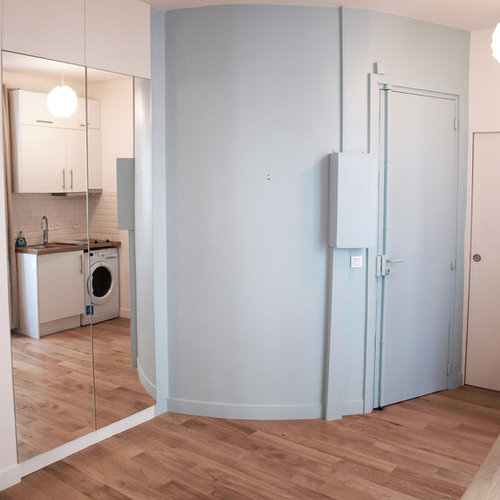 entr e scandinave avec une porte en bois clair photos et id es d co d 39 entr es de maison ou d. Black Bedroom Furniture Sets. Home Design Ideas