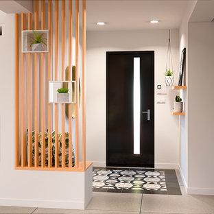 Inspiration för små minimalistiska foajéer, med klinkergolv i keramik, en enkeldörr och flerfärgat golv