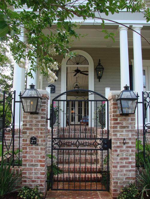 Brick columns wrought iron fence ideas pictures remodel for Brick and wrought iron fence designs