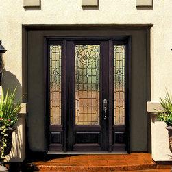 "1 Panel 3/4 Lite Palacio Fiberglass Entry Door with Side lights Tall 96"" -"