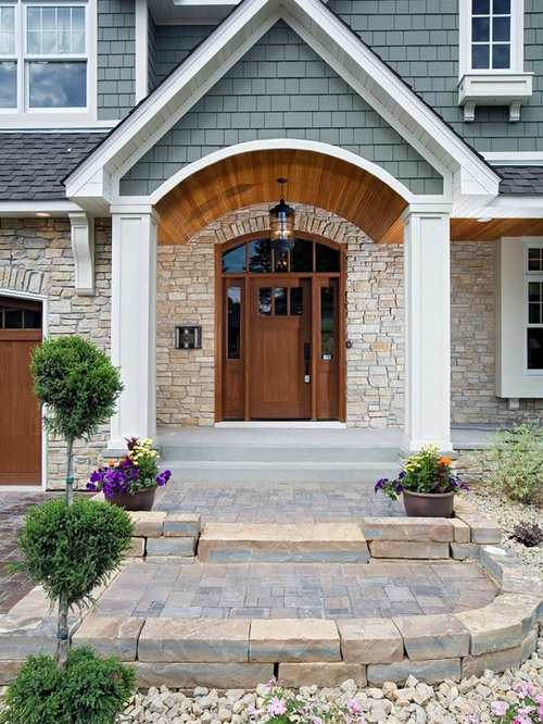 Wood stained door home design ideas pictures remodel and for Front door arch design