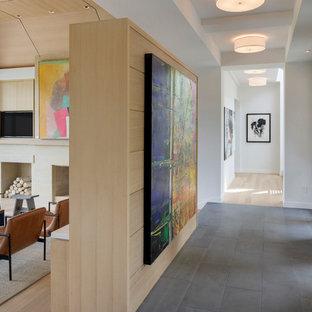 Foto de vestíbulo moderno, extra grande, con paredes blancas, suelo de baldosas de porcelana, puerta doble y puerta de vidrio