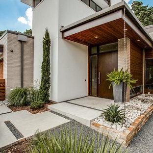 Réalisation d'une grand porte d'entrée design avec béton au sol, une porte simple et une porte marron.