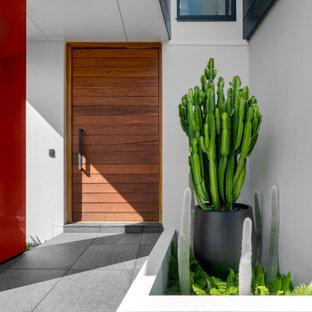 Cette photo montre une grand porte d'entrée tendance avec un mur blanc, une porte simple, une porte en bois brun et un sol gris.