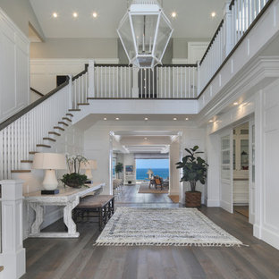Inspiration for a coastal dark wood floor and brown floor foyer remodel in Orange County with white walls