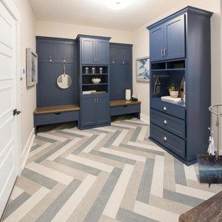Mudroom - traditional multicolored floor mudroom idea with beige walls