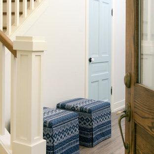 グランドラピッズの巨大な片開きドアビーチスタイルのおしゃれな玄関ドア (白い壁、クッションフロア、木目調のドア、茶色い床) の写真