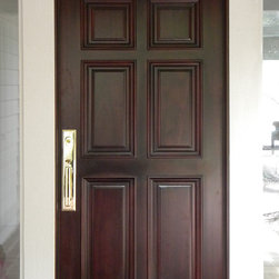 "6 Panel front entry door in Mahogany - Traditional 6 Panel entry door, prehung and stained in dark Cherry. Door is 36""x80"" ready to ship. For expert advise call us 877-929-3667."