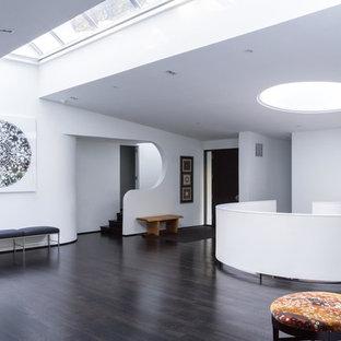 Idée de décoration pour une entrée minimaliste avec un mur blanc, un sol en bois foncé, une porte simple et une porte noire.