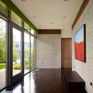 シカゴの広い片開きドアコンテンポラリースタイルのおしゃれな玄関ホール (白い壁、クッションフロア、茶色い床) の写真