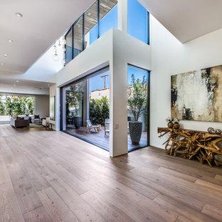 Ispirazione per un grande ingresso o corridoio minimalista con pareti gialle, parquet chiaro, una porta singola e una porta in vetro