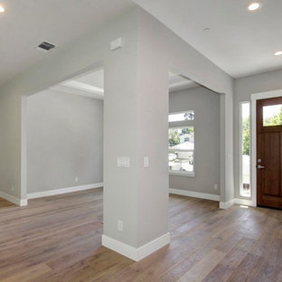 Inspiration for a mid-sized contemporary medium tone wood floor and brown floor entryway remodel in Sacramento with gray walls and a dark wood front door