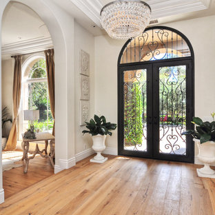 Inspiration for a transitional light wood floor entryway remodel in Orange County with beige walls and a glass front door