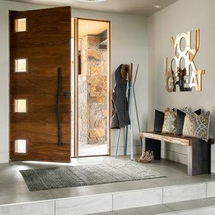 На фото: прихожая в современном стиле с серыми стенами, одностворчатой входной дверью, входной дверью из темного дерева и серым полом с