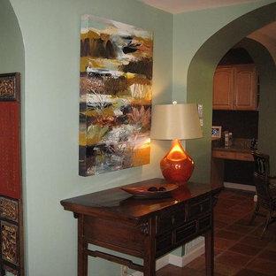 abstract art, unusual sofa table, asian infused console, La Canada, CA