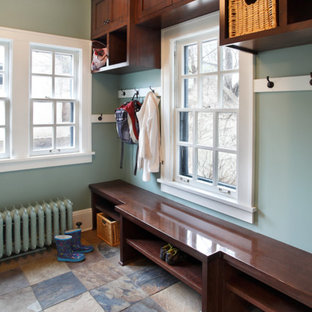 Mudroom - mid-sized traditional slate floor mudroom idea in Minneapolis with gray walls
