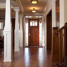 Ideas for mixing stained wood with painted trim for Combining stained and painted trim