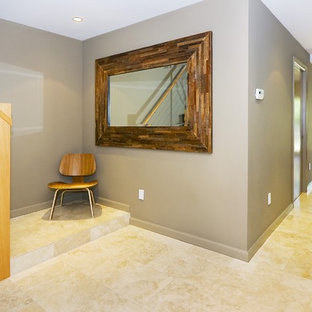 Trendy entry hall photo in San Francisco with gray walls