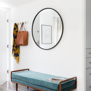 ロサンゼルスの片開きドアコンテンポラリースタイルのおしゃれな玄関ロビー (白い壁、クッションフロア、白いドア、茶色い床) の写真