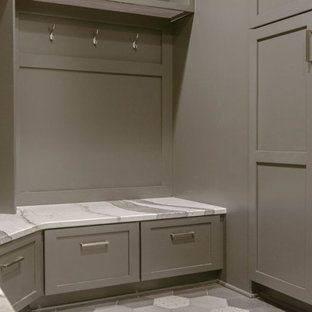 Inspiration for a mid-sized contemporary marble floor and gray floor mudroom remodel in Omaha with gray walls