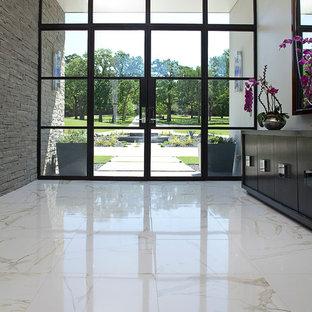Diseño de distribuidor minimalista, de tamaño medio, con paredes blancas, suelo de mármol, puerta de vidrio, puerta doble y suelo blanco