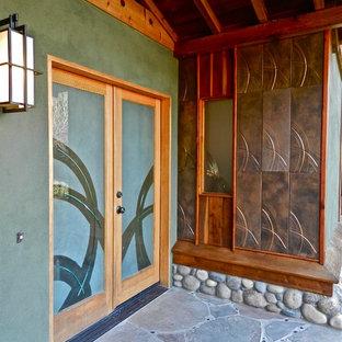 Art glass double doors