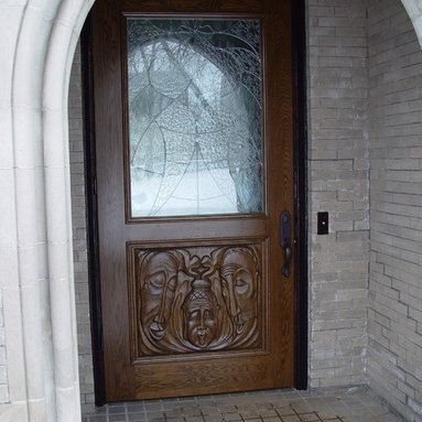 Artistic Entrance Doors by Arttig - 3 f. x 9 f. Solid white oak entrance door.