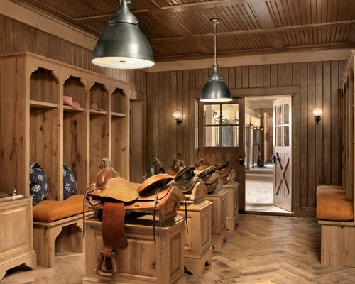 Wonderful Inspiration For A Farmhouse Boot Room In Austin With Medium Hardwood  Flooring, A Double Front