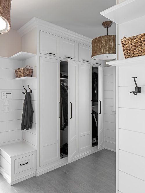 Mudroom   Beach Style Gray Floor Mudroom Idea In Other With White Walls