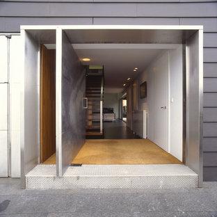 Idee per una porta d'ingresso design di medie dimensioni con pareti nere, pavimento in granito, una porta a pivot e una porta in metallo