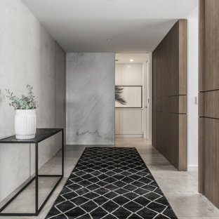 Inspiration for a large contemporary entry hall in Sydney with grey walls and grey floor.