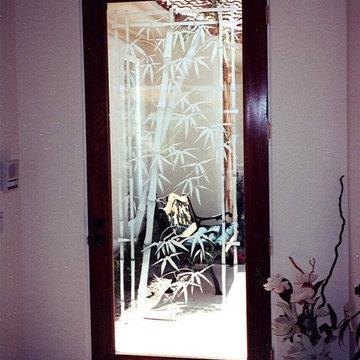 Bamboo Shoots Glass Front Door