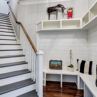 Mudroom - transitional dark wood floor mudroom idea in Atlanta with white walls
