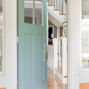 Beach House Aqua Blue Front Door  - Boston Magazine Design Home