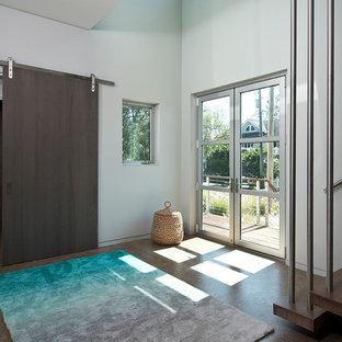 На фото: входная дверь среднего размера в современном стиле с белыми стенами, пробковым полом, двустворчатой входной дверью, стеклянной входной дверью и коричневым полом