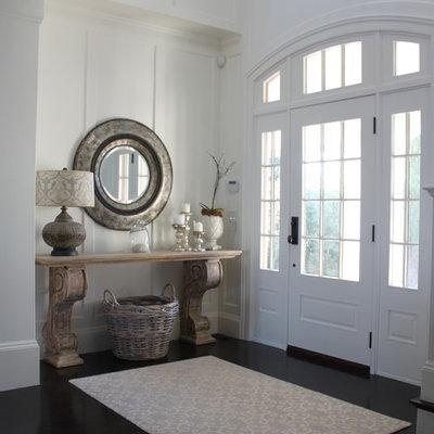 Single front door - coastal dark wood floor single front door idea in Boston with a white front door